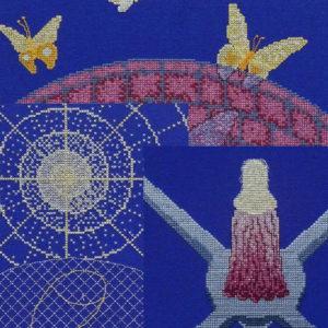 18B Borduurpatroon Kruissteken Embroidery pattern Cross-stitches Rest Freedom Safety