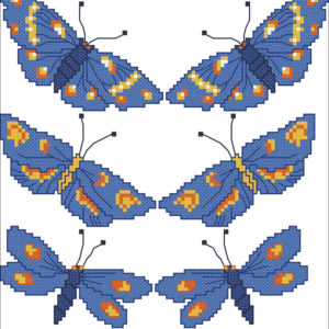 210B Borduurpatroon Kruissteken Embroidery pattern Cross-stitches Butterflys