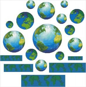 211A Borduurpatroon Kruissteken Embroidery pattern Cross-stitches Aarde