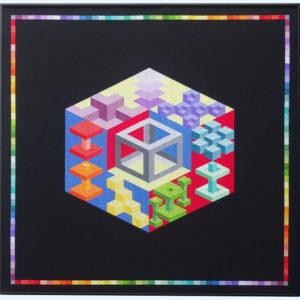 41C Borduurpatroon Kruissteken Embroidery pattern Cross-stitches Regenboog kubus