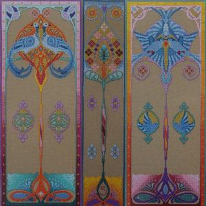 71B Borduurpatroon Kruissteken Embroidery pattern Cross-stitches Iris A,B,C