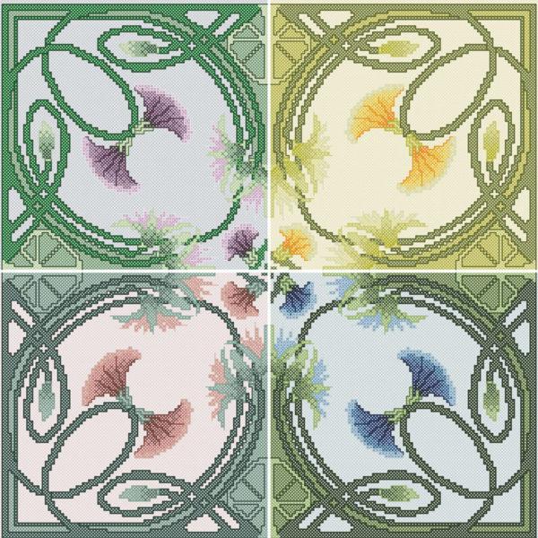 76B Borduurpatroon Kruissteken Embroidery pattern Cross-stitches Art Nouveau Table cloth