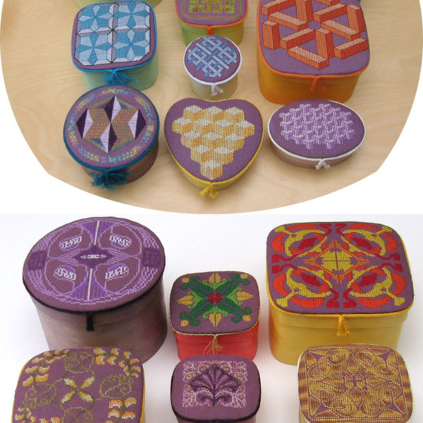 85B Borduurpatroon Kruissteken Embroidery pattern Cross-stitches Geometric and Art Nouveau boxes