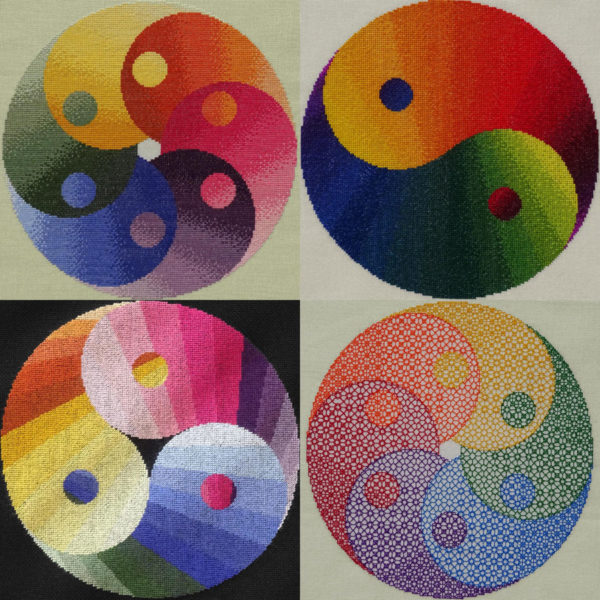98A Borduurpatroon Kruissteken Embroidery pattern Cross-stitches Yin Yang variatie A,B,C,D
