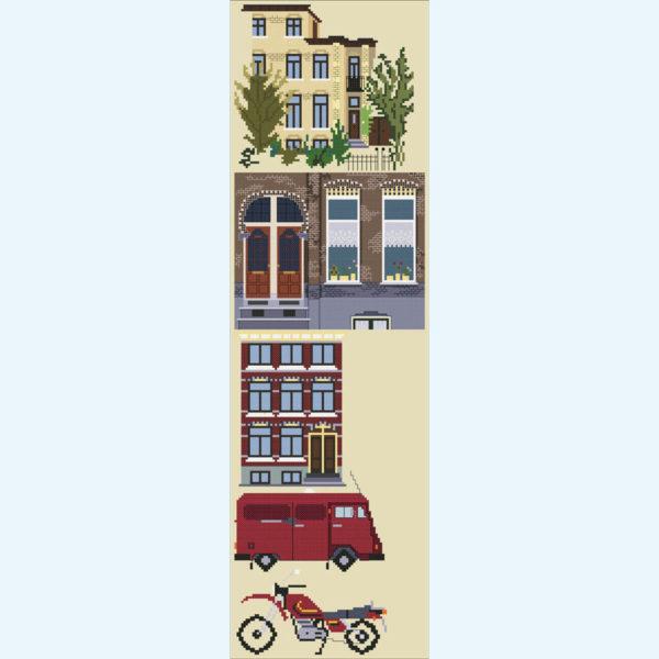 orduurpatroon Kruissteken Embroidery pattern Cross-stitches Huizen en vervoer