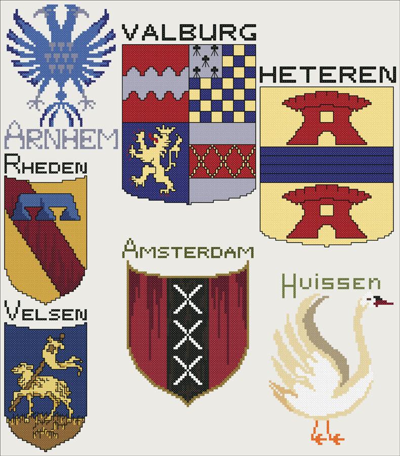 204A Borduurpatroon Kruissteken Embroidery pattern Cross-stitches Wapens