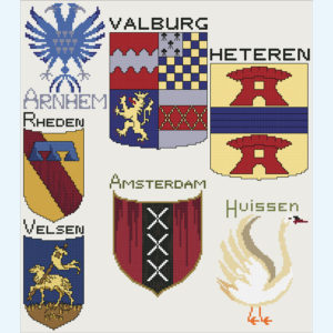 Borduurpatroon Kruissteken Embroidery pattern Cross-stitches Wapens