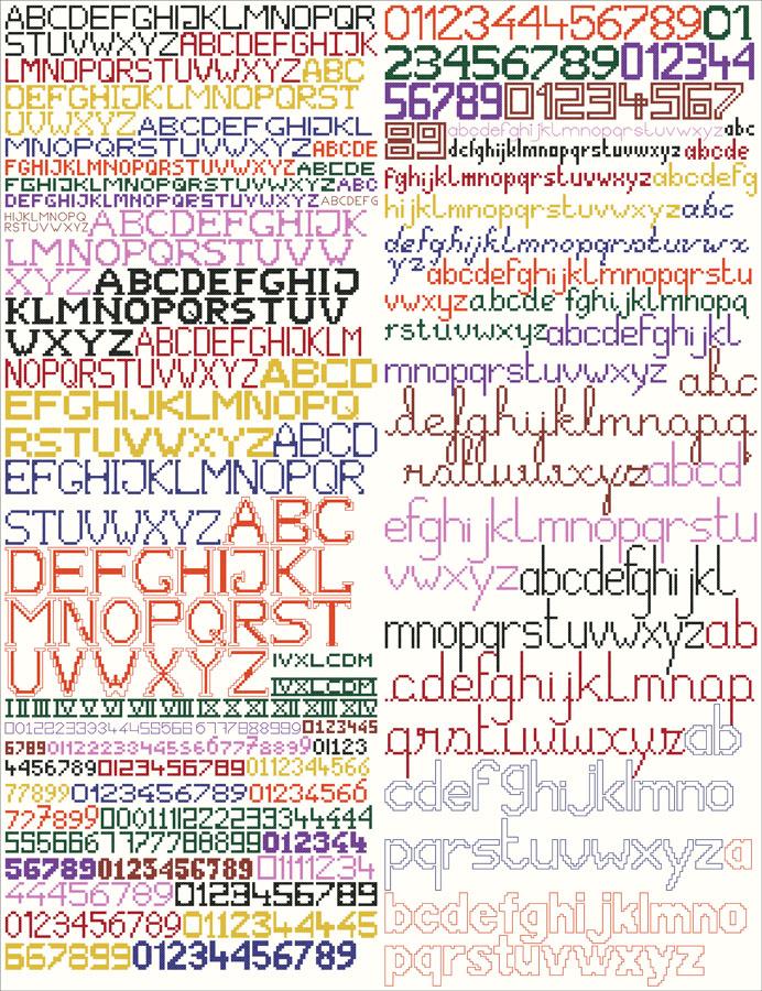 205A Borduurpatroon Kruissteken Embroidery pattern Cross-stitches Letters en cijvers