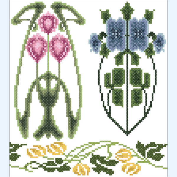 Borduurpatroon Kruissteken Embroidery pattern Cross-stitches Art Nouveau