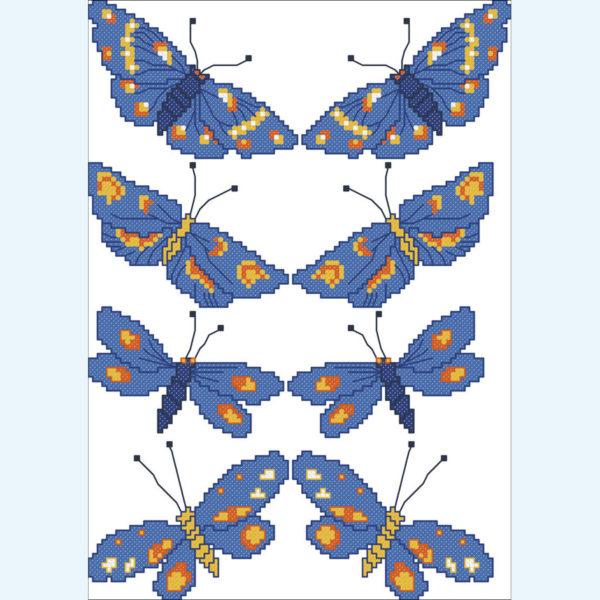 Borduurpatroon Kruissteken Embroidery pattern Cross-stitches Vlinders
