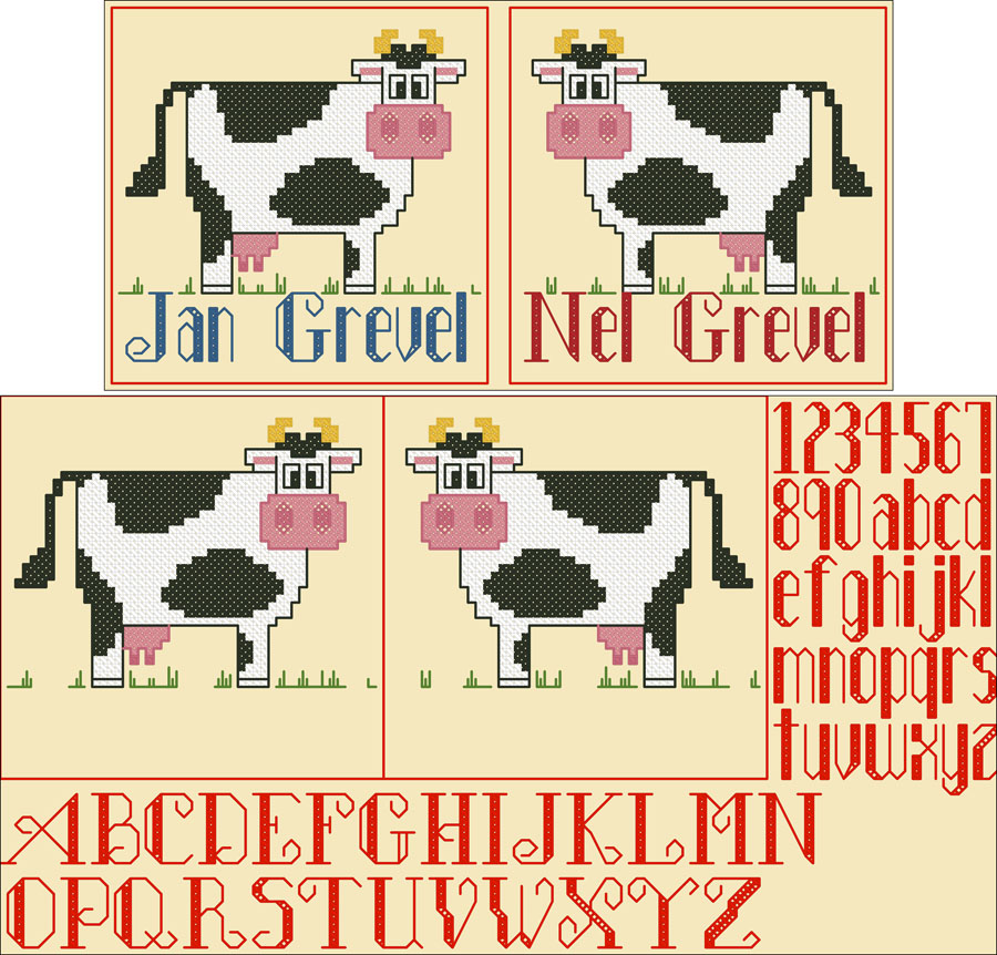 329A Borduurpatroon Kruissteken Embroidery pattern Cross-stitches Melkboer