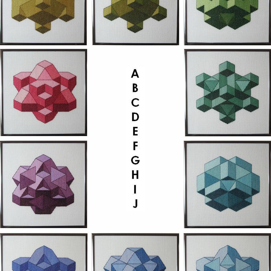 37B Borduurpatroon Kruissteken Embroidery pattern Cross-stitches Cubes