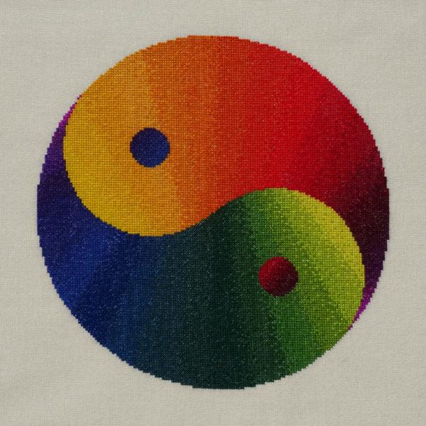 94A Borduurpatroon Kruissteken Embroidery pattern Cross-stitches Yin Yang variatie A