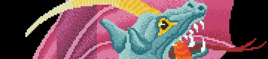 14B Borduurpatroon Kruissteken Embroidery pattern Cross-stitches Dragon
