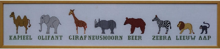 3C Borduurpatroon Kruissteken Embroidery pattern Cross-stitches  Dierentuin